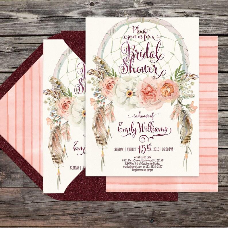 watercolor 5x7 card Digital printable files Dreamcatcher boho bridal shower invitation Feathers bohemian Customisable peonies 052CMP