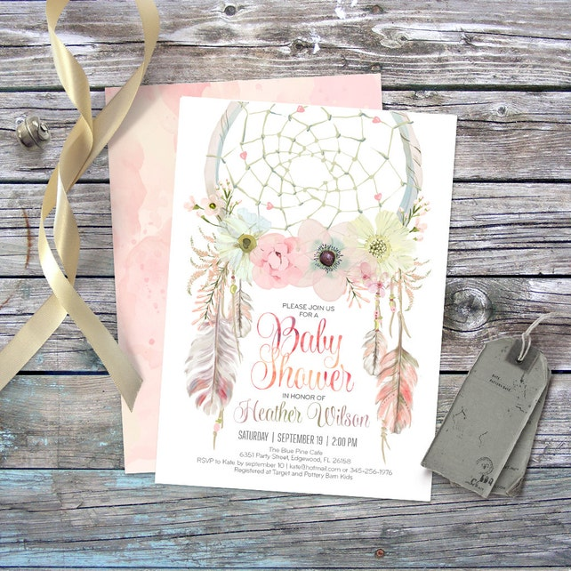 dreamcatcher boho baby shower invitation digital printable etsy