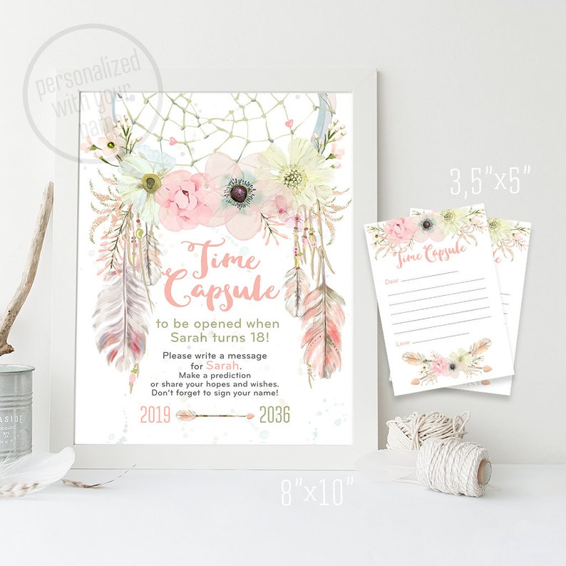 Time Capsule Sign And Wishes Card First Birthday Baby Girl
