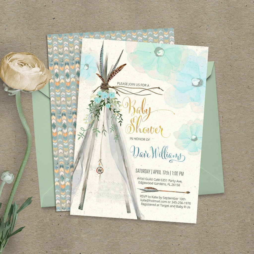 Teepee bohemian baby shower invitation. Digital files. Feathers, tipi,  tribal, boho, watercolor, pow wow, beach. Customised by me. 089CMP