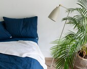 Pacific. 3-Piece linen bedding set. Linen duvet cover and 2 pillowcases. Navy, blue. Twin, Full, Queen, King, Euro, AU sizes