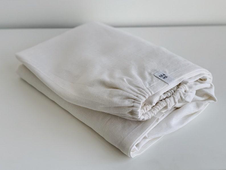 Foam  Linen fitted sheet  White  Full, Queen, King, Euro, AU sizes