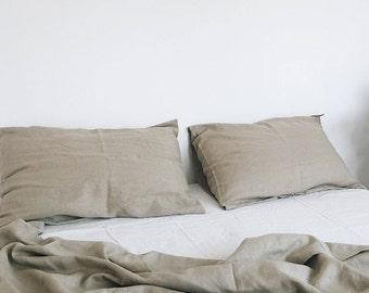 Sand. 3-Piece linen bedding set. Linen duvet cover and 2 pillowcases. Beige. US Full, US Queen, US King, Euro size