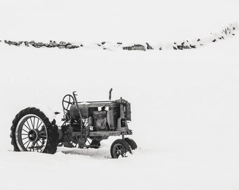Tractor in Snowy Field #2 Black and White