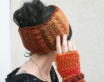 Fall finery mittens + crochet headband