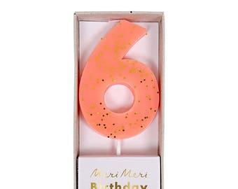 Meri Meri: Pink Number 6 Candle