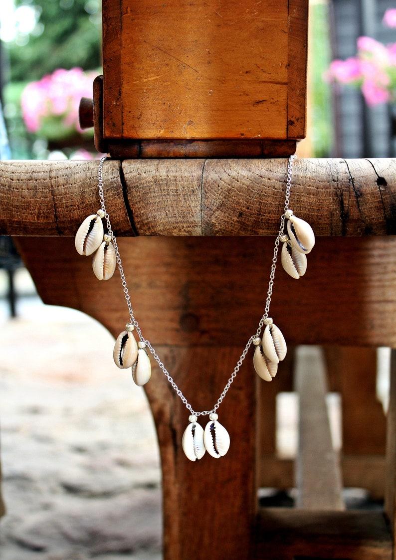 9d3eb596687d Concha de cowrie cadena playa collar de cauri conchas