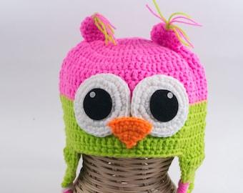 Crochet owl Hat, Toddler Animal Hat