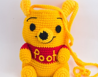 Handmade crochet bag, crocheted purse, Pooh bear purse