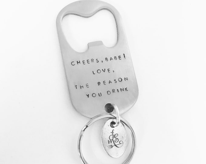 Featured listing image: Personalized, Hand Stamped Bottle Opener Keychain