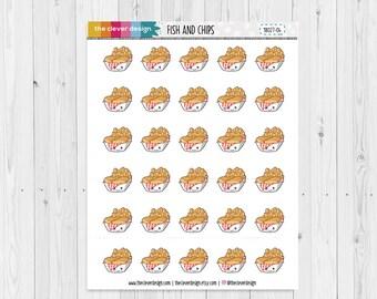 Fish and Chips | Kawaii Fish and Chips | Kawaii | Planner Stickers | 18027-04