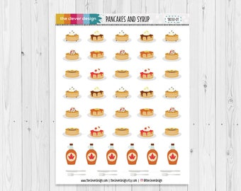 Pancakes and Syrup Planner Stickers | Breakfast Stickers | Pancake Stickers | Syrup Stickers | 18030-01