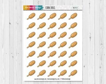 Corn Dogs | Kawaii | Kawaii Corn Dogs | Planner Stickers | 18029-01