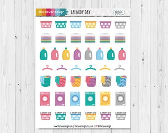Laundry Day Planner Stickers | Laundry Stickers | Cleaning Stickers | 18031-01
