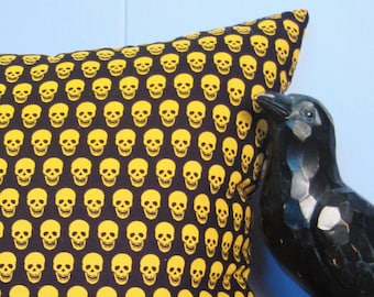 "Grinning Skulls Throw Pillow, 14""x14"", Creepy Decor"