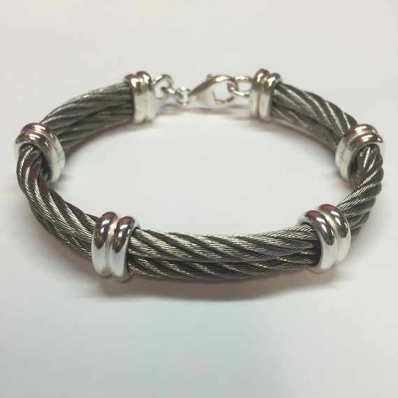 Sterling Silver and Stainless Steel Cable Bracelet