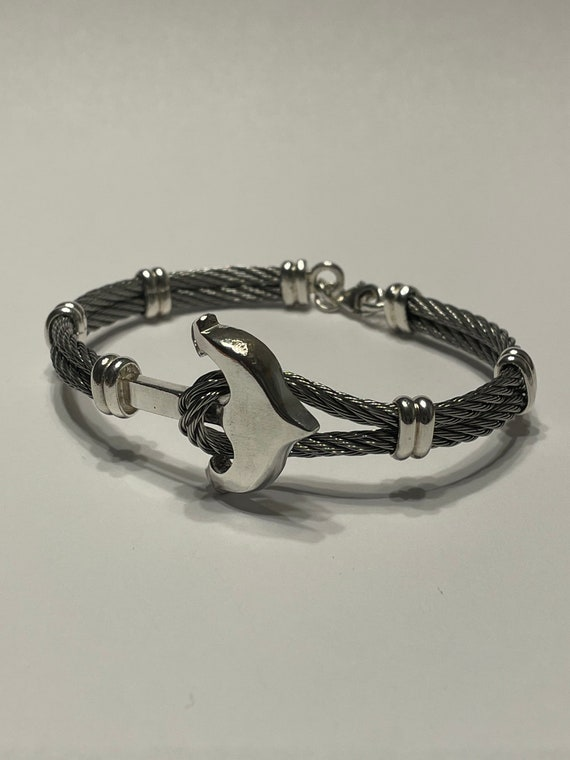 Anchor bracelet made of sterling silver and stainless steel cable