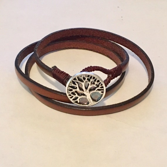 Tree of Life bracelet. Silver Tree of Life with genuine leather. Wrap around bracelet.