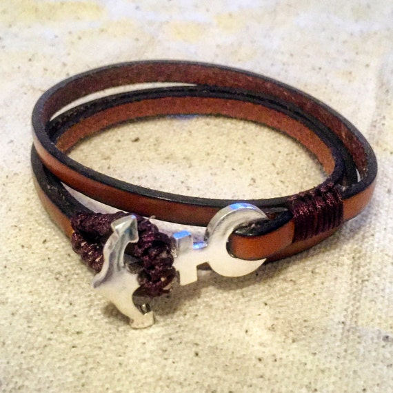 Sterling silver anchor with brown genuine leather
