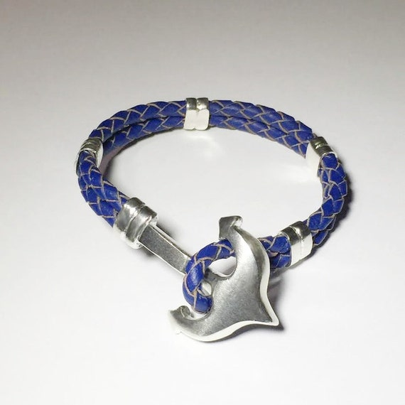 Anchor made of sterling silver with genuine leather bracelets