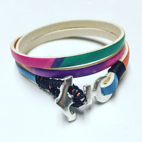 Rainbow leather with Anchor Sterling silver bracelet