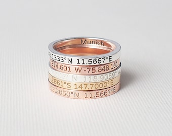 Coordinates Ring / Custom Roman Numeral Ring / Personalized Ring / Custom Name Ring / Mother's Day Gift / Silver Gift for her - CR05