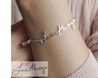 Personalized Gift / Actual Handwriting Bracelet / Custom Handwriting Bracelet / Name Bracelet / Mother's Gift from Daughter - HB16