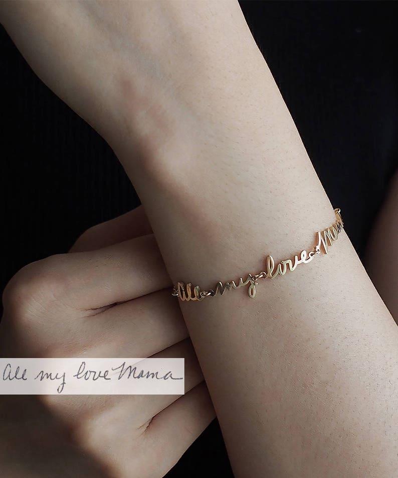 4d416b3abae6e Actual Handwriting Bracelet / Personalized Gift / Custom Handwriting  Bracelet / Custom Name Bracelet / Memorial jewelry - HB16