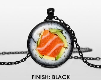 SUSHI Necklace, Sushi Jewelry, gift for women handmade, Sushi, Sushi maki Pendant chain food jewelley 050