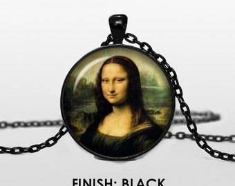 DA VINCI Mona Lisa Necklace, LEONARDO Jewelry, art gift for women handmade, art Pendant chain jewelley, Mona Lisa 031