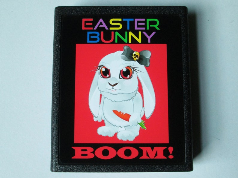 Atari 2600 EASTER BUNNY BOOM Video Game Cartridge Black image 0