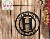 Personalized Garden Flag - Seasonal Garden Decor - Custom Last Name Yard Art - Initial Monogram - QUICK Ship - stand option