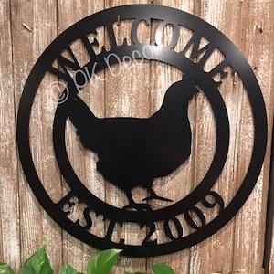 QUICK Shipping Farmhouse Chicken Wall Decor Last Name Chicken Door Hanger ACM Metal Chicken Sign 24 in Chicken Wreath for Farm