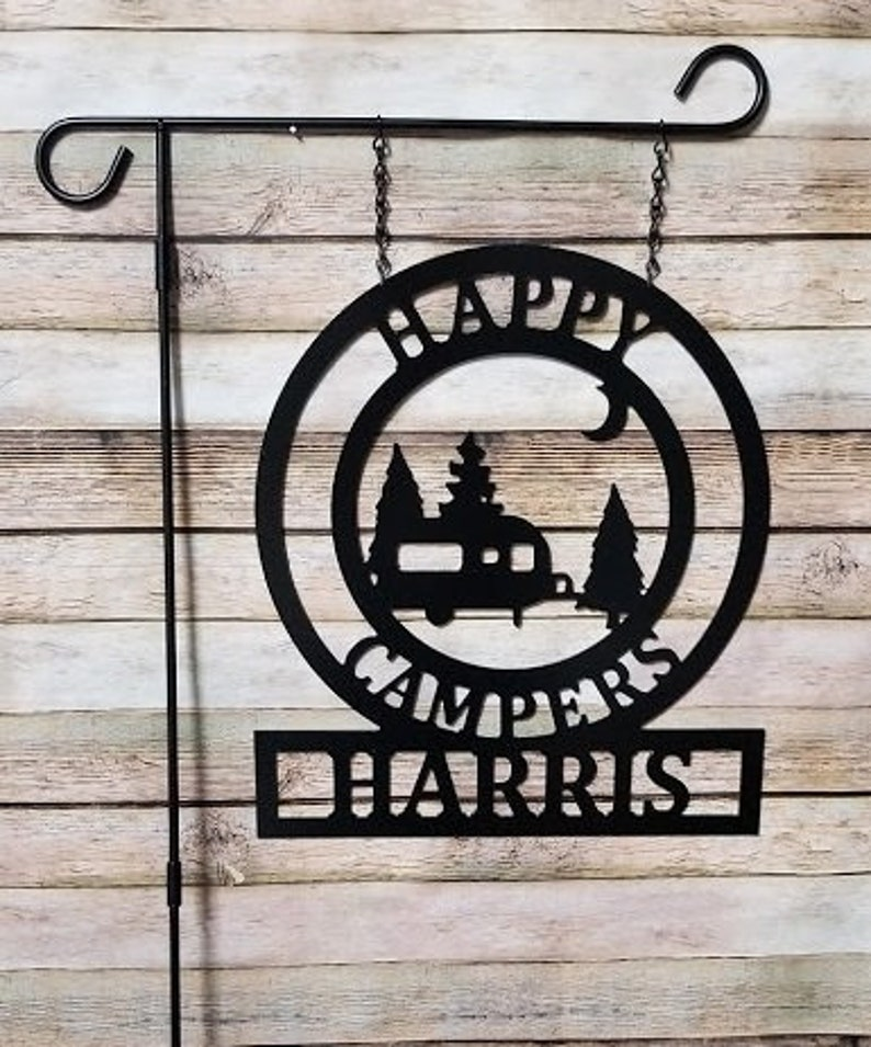 Happy Camper Sign  14x16in ACM Metal Camping Garden Flag image 0