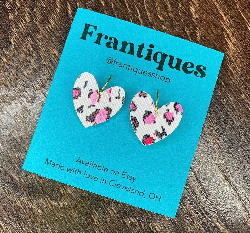 Handmade heart earrings white with black and pink animal image 0