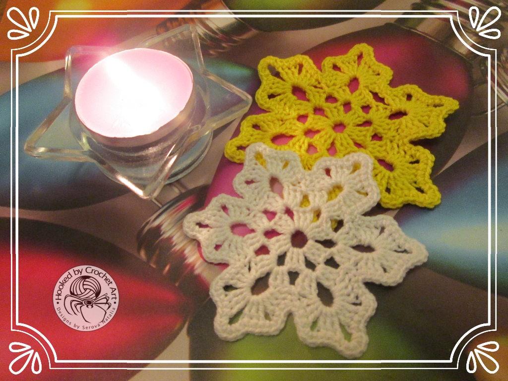 Crochet Snowflake Pattern Christmas Decor Etsy Coaster Patterns Diagrams A Few Pretty Snowflakes Zoom