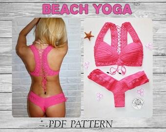 Crochet Bikini Set Pattern/ Beach Yoga Top/ Cheeky Panties/ Crochet Swimwear/ Knitted Cover Up/ Crochet Bottom/ Crohet Bikini Set/ DIY