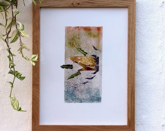 Deer in the forest watercolor print - In the space 03