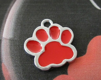 5 Paw Print Charms | Enamel Charms | Paw Print Necklace | Paw Print Earrings | Paw Print Jewelry | Pet Memorial | Pet Loss Gifts | Dog Tags