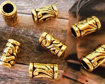 10 Gold tube beads Gold European beads Tube spacer beads 11x6mm spacer beads Bracelet spacers Gold tube beads Mens jewelry Large hole beads