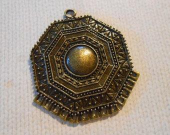 4 Bronze Octogon Pendants Chandelier Pendant Bronze Medallion Pendant Large Bronze Connector 13 Holes Loops Ethnic Boho DIY Jewelry Supplies