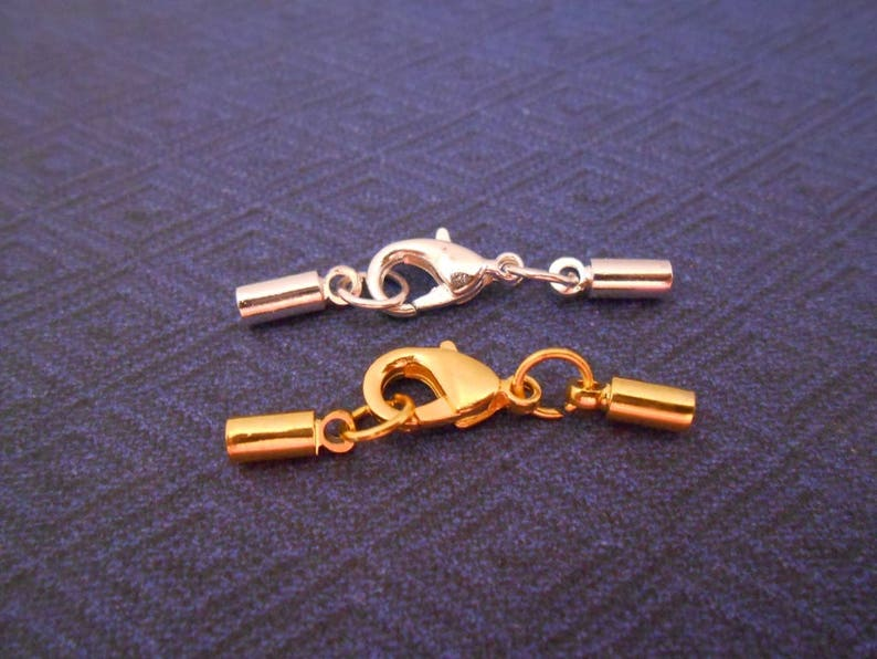 10 Cord End Clasp Sets 2mm Silver Gold Cord Clasps Necklace image 0