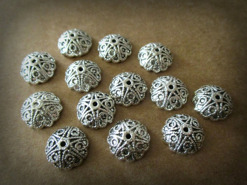 25 Round Petal Flower CCB Silver Metal Plated Beads Loose Jewelry Making Craft