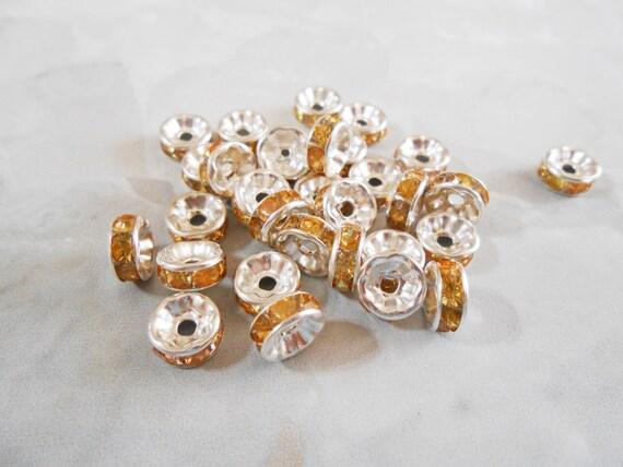 25 Silver Rhinestone Spacer Brass Rondelle Beads 8mm