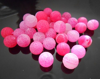12 Hot pink agate beads 8 mm Frosted Matte Fuchsia Dragons vein agate Round agate beads Bright pink Loose gemstone Destash Jewelry Supplies