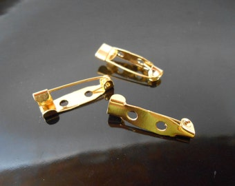10 gold brooch backs Bar pins Back bars Pin backs Brooch pins Brooch bases Brooch making supplies Brooch Findings 20x5 mm Jewelry supplies