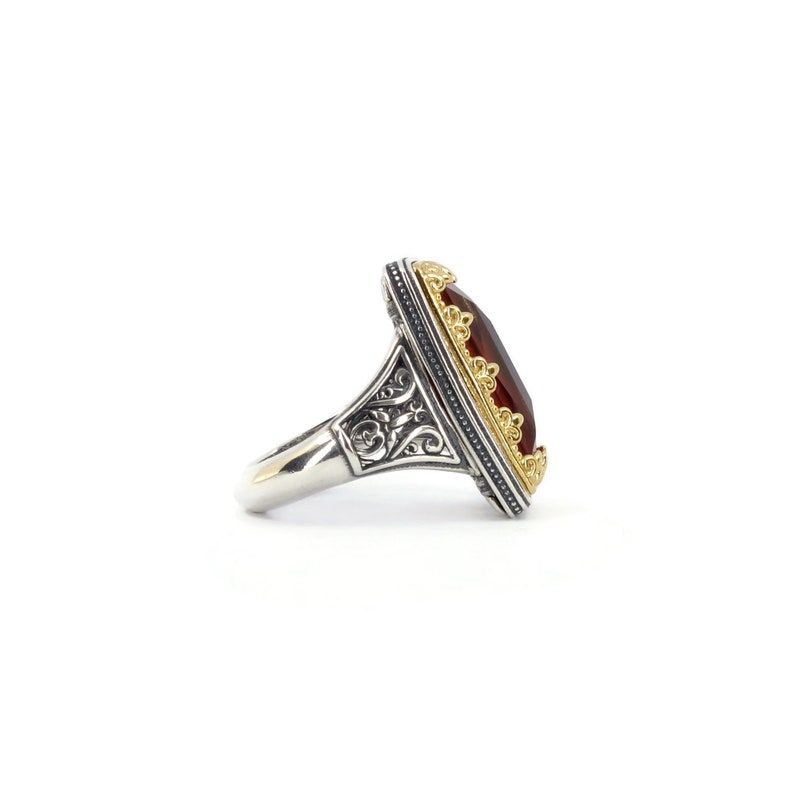 Byzantine Ring Laskaridis with Ruby Doublet Stone Sterling Silver 925 Gold Plated