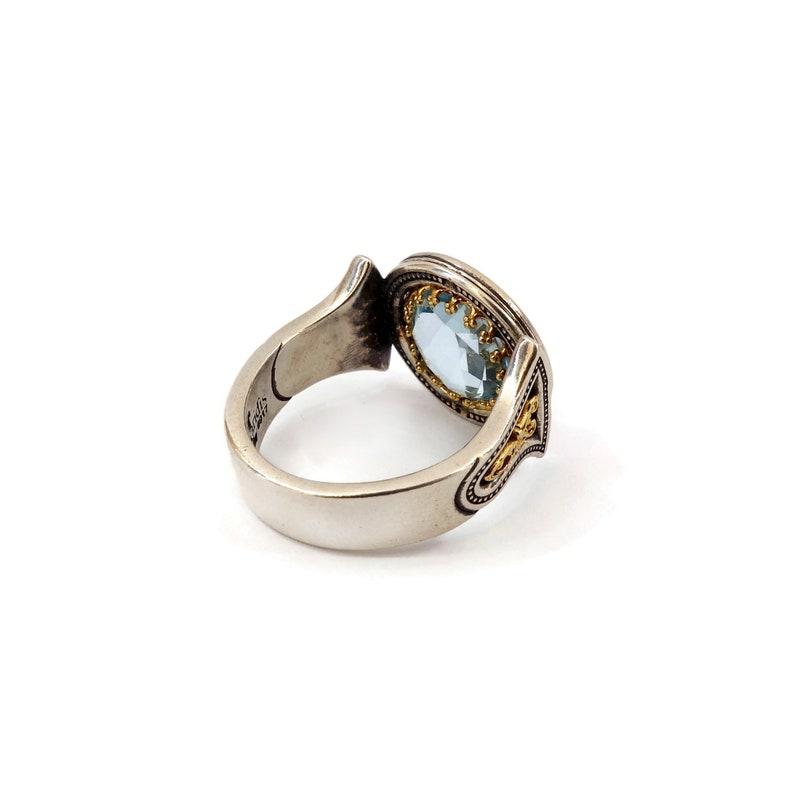 Gift for her Gold Plated Sterling Silver 925 Gemstone Ring Birthday Ring Eternity Ring Art Handmade Ring Natural Sky Blue Topaz Ring