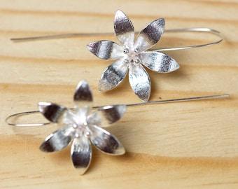 gift flower girl earrings party wear birthday gift  earrings flower  long earrings flower, earrings hand made , love flower, silver earrings