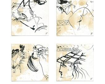 4-piece original image on board 4 x 15/15 cm (4 x 5.9/5.9 inches)